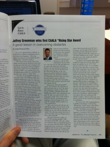 Jeff Greenman CAALA Rising Star Award